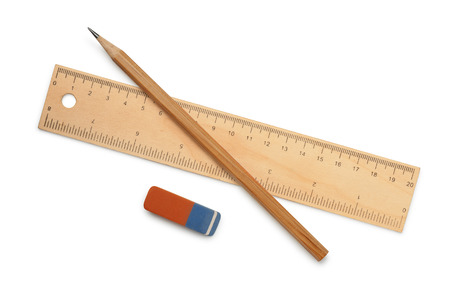 Photo pour Ruler, pencil and eraser isolated on white - image libre de droit