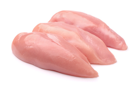 Photo pour Raw chicken fillets isolated on white - image libre de droit