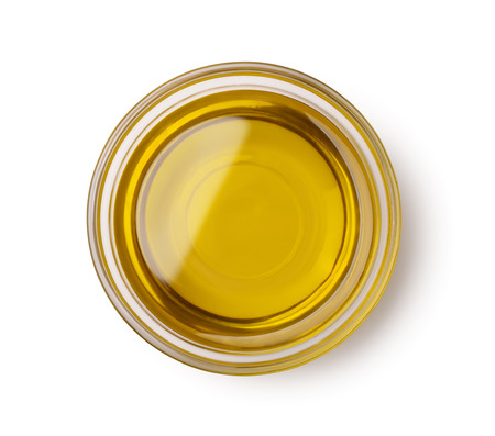 Photo for Top view of olive oil bowl isolated on white - Royalty Free Image