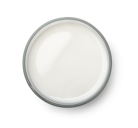Photo for Top view of milk glass isolated on white - Royalty Free Image