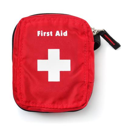 Foto de Top view of first aid kit bag isolated on white - Imagen libre de derechos