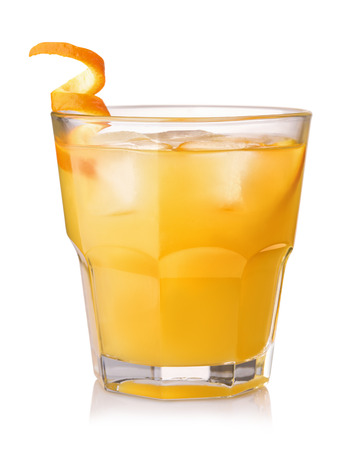 Photo pour Glass of screwdriver cocktail isolated on white - image libre de droit