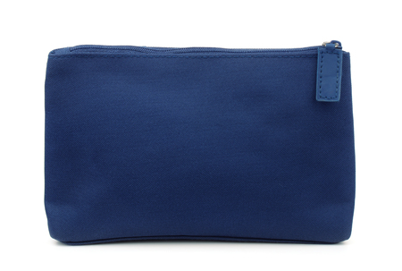 Photo pour Side view of blue toiletry bag isolated on white - image libre de droit