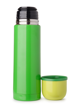 Foto de Front view of green thermo flask isolated on white - Imagen libre de derechos