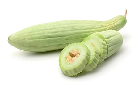 Photo pour Armenian yard long cucumbers isolated on white - image libre de droit