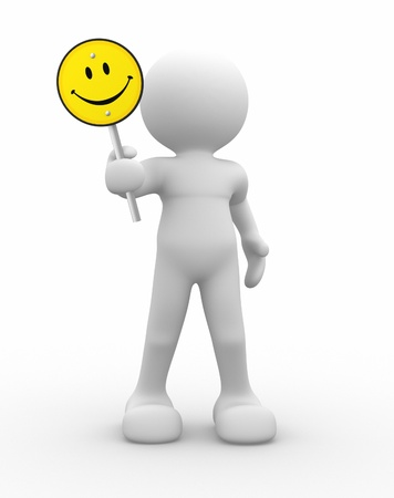 3d human icon with smiling yellow sign - rendered in 3d