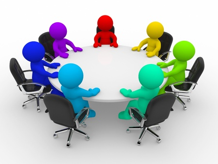 3d people of different nationalities at the conference table