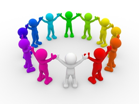 Foto de 3d people - human character,  different people in circle . This is a 3d render illustration  - Imagen libre de derechos