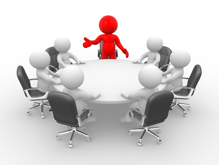 Photo pour 3d people - human character - person . Leadership and team at conference table. This is a 3d render illustration  - image libre de droit