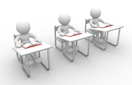 Photo for 3d people - man, person with  books at  table study - Royalty Free Image