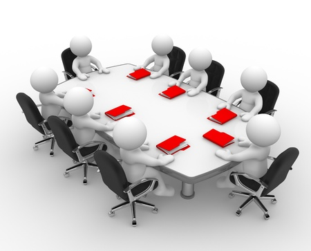 3d people - men, person at conference table and a folders  Business meeting