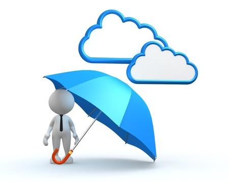Photo pour 3d people - man, person with a blue umbrella. - image libre de droit