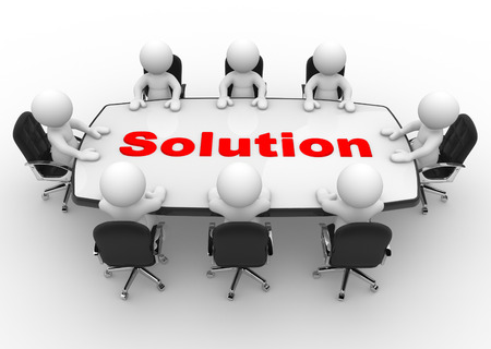 Photo pour 3d people - men, person at a conference table. Solution - image libre de droit
