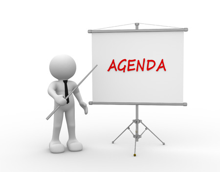 Photo for 3d people - man, person and flipchart. Agenda - Royalty Free Image