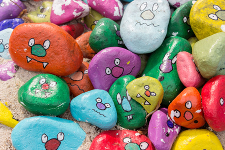 Photo for Painted stones with faces - Royalty Free Image