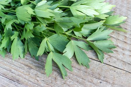 Foto de Fresh herb from lovage on a wooden board - Imagen libre de derechos