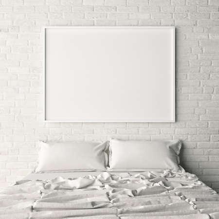 Foto de Empty poster on white brick bedroom wall, 3d illustration - Imagen libre de derechos