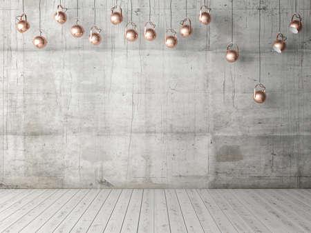 Foto de Concrete empty wall with light bulbs, background, 3d illustration - Imagen libre de derechos