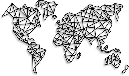 Illustration pour Abstract vector world map background in polygonal style. Origami style. Wall decals. - image libre de droit