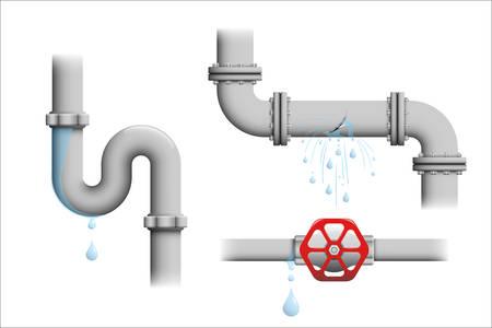 Ilustración de Leaking pipe vector set. Broken water pipeline with leakage, leaking valve, dripping drain illustrations isolated on white. - Imagen libre de derechos