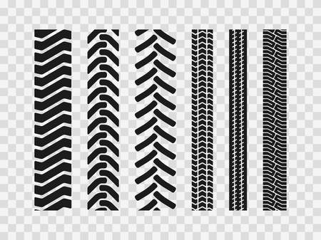 Illustration pour Heavy machinery tires track patterns, building of agricultural vehicles tires footprints,  industrial transport ground trace or marks textures as seamless loopable elements - image libre de droit