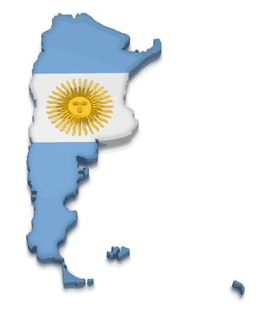 Illustration pour Map of Argentina. 3d render Image. Image with clipping path - image libre de droit