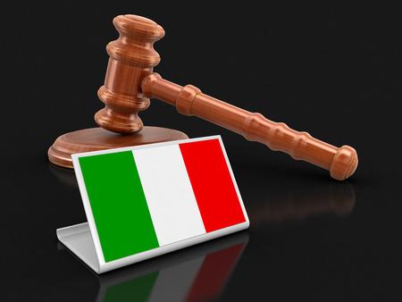 Foto de 3d wooden mallet and Italian flag. Image with clipping path - Imagen libre de derechos