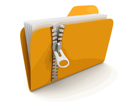 Ilustración de folder and lists with zipper. Image with clipping path - Imagen libre de derechos