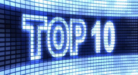 Illustration pour The word Top 10 on the screen Vector illustration. - image libre de droit