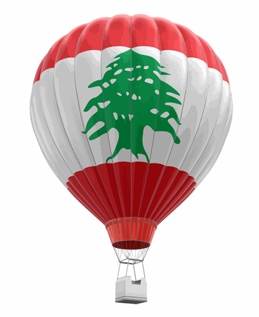 Illustration pour Hot Air Balloon with Lebanese Flag. Image with clipping path. - image libre de droit