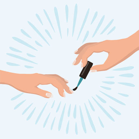 Vector illustration of women's hands doing a manicure applying red nail polish. Beauty concept. Cosmetic products, spa salon, body care.