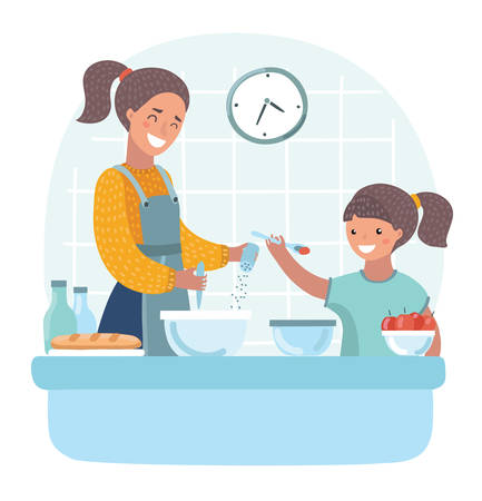 Illustration pour Vector cartoon illuatration of young beautiful mother teaches daughter to cook in the kitchen.+ - image libre de droit