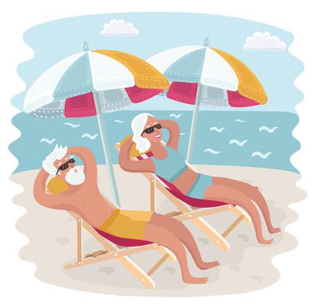 Ilustración de Vector cartoon illustration of Elderly couple relaxing in their deck chairs under sun umbrella on the seacost beach. Taking sunbath - Imagen libre de derechos