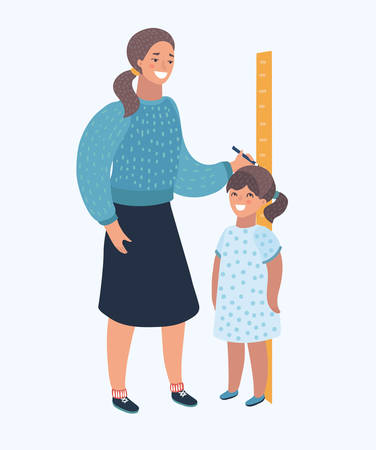 Illustration pour Vector cartoon illustration of a Mom Measuring the Current Height of Their daughter. Human modern character on isolated backgrund. - image libre de droit