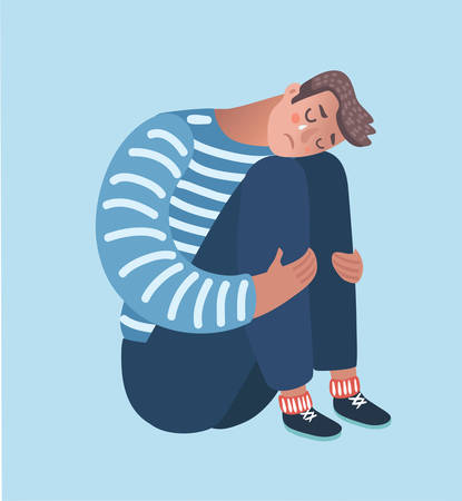 Illustrazione per Vector cartoon illustration of despaired man hug his knee and cry when sitting alone on the floor. Isolated characters on white background. - Immagini Royalty Free