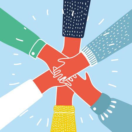 Ilustración de Vector cartoon illustration of people putting their hands together. Colorful concept - Imagen libre de derechos