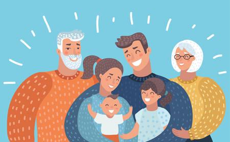 Illustration pour Vector cartoon illustration of big cartoon family with parents, children and grandparents. Horizontal picture on bright background. - image libre de droit