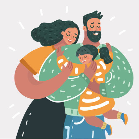 Illustration pour Vector cartoon illustration of Happy family. Father, mother, daughter. Parents are keeping on the hands of their children. - image libre de droit