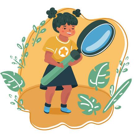 Ilustración de Vector cartoon illsatration of smiling little girl looking through a magnifying glass. Education and searching concept. - Imagen libre de derechos