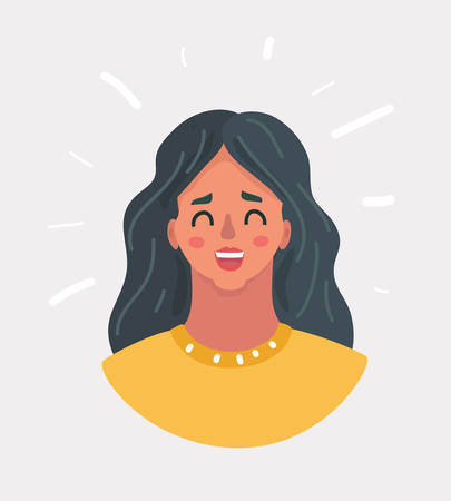 Illustrazione per Vector cartoon illustration of Woman happy loughing face. Beautiful girl smiling. - Immagini Royalty Free