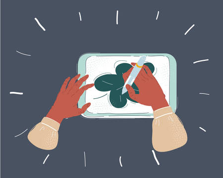 Illustrazione per Cartoon vector illustration of Close up hands holding a digital tablet with a picture of leave. Object on dark background. - Immagini Royalty Free