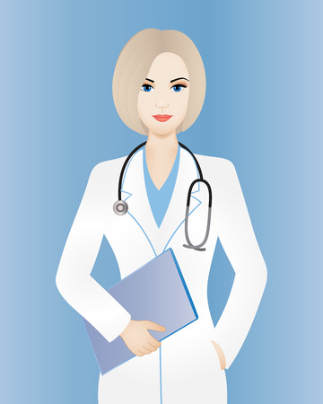 Illustration pour Young smiling female doctor with clipboard - image libre de droit