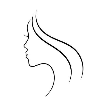 Ilustración de Female face profile sketch. May be used for spa and beauty salon or another decoration. - Imagen libre de derechos