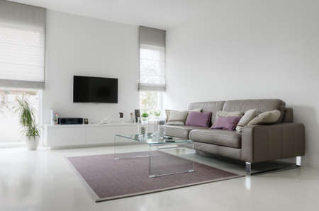 Photo pour White living room with taupe leather sofa and glass table on carpet - image libre de droit