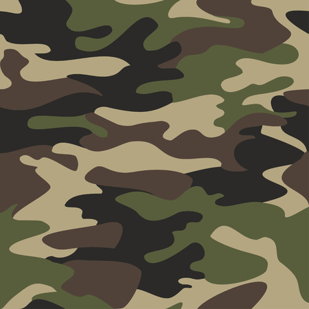 Illustration pour Camouflage pattern background seamless vector illustration. Classic clothing style masking camo repeat print. Green brown black olive colors forest texture - image libre de droit