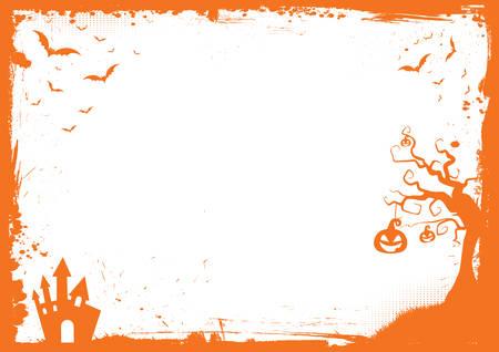 Ilustración de Horizontal Halloween orange element border and background template - Imagen libre de derechos