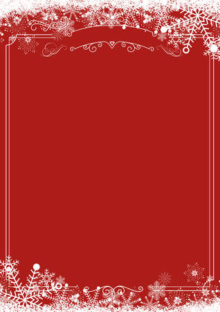 Illustration for A4 size vertical Cafe menu - Winter snowflake retro border and Christmas red background background - Royalty Free Image