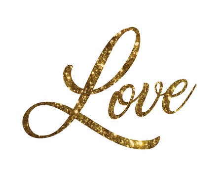 Illustration pour The Golden glitter of isolated hand writing word LOVE - image libre de droit