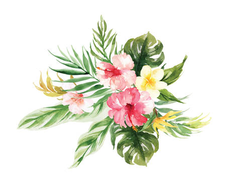 Illustration pour The isolated vector Yellow, pink flower and leaf wedding decoration  - image libre de droit