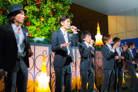 Tokyo, Japan - November 24 2013  Permanent Fish vocals group performs acappella at Tokyo Tower for the early preparation of the up coming Christmas
